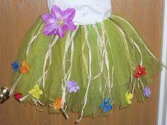 havaiano grama saia tutu verde com flores e grama palha LUAU