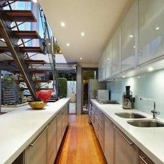 Modern and open-looking galley kitchen