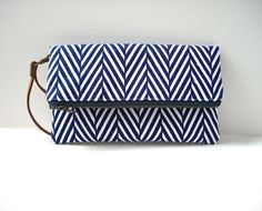 Fold Over Clutch Purse in Graphic Navy and by IndependentReign, $42.00