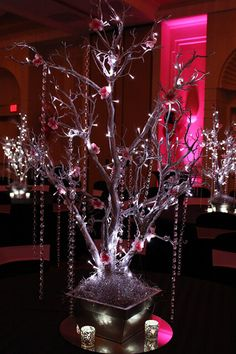 Silver Tree with Hanging Crystals Silver Tree with Hanging Crystals, LED Lights & Pink Flowers