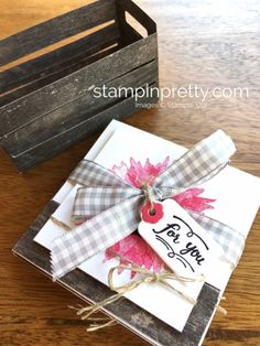 Stampin Up Painted Harvest 3 x 3 Note Cards in Wood Crate Die Idea - Mary Fish StampinUp Mary Fish, Stampin Pretty, Wood Crates, Fall Cards, Card Making Inspiration, Pretty Cards, Tutorial, Stampin Up Cards, Note Cards