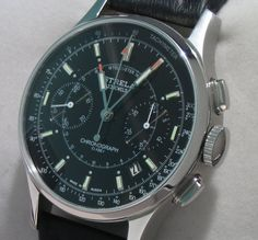 Strela Chronograph Black dial version of the first watch worn on a spacewalk. Engineering. Design. History.