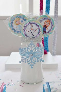 Pretty centerpiece at a Frozen birthday party! See more party planning ideas at CatchMyParty.com!