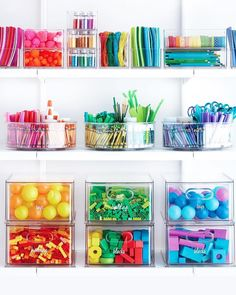Organizing Toy Parts The Home Edit Toy & Craft Storage Solution Kitchen Organization Pantry, Room Organization, Kitchen Storage, Ikea Kitchen, Craft Storage Solutions, Kids Craft Storage, Ikea Kura, The Home Edit, Chic Desk