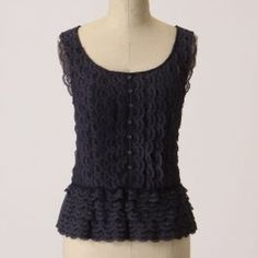 Anthropologie Bayeux Top by Ric Rac Adorable lace ruffle peplum from anthropologie.  Size medium with a shorter length. Great with a skirt and cardigan ! Navy blue. Anthropologie Tops Tank Tops