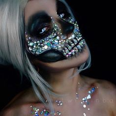 VAMPFANGS.COM Rhinestones make all the difference to transform this skull into a glamorous look Rhinestone skeleton