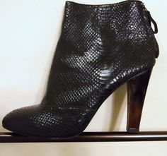 7 FOR ALL MANKIND Vicky Leather Ankle Boot Black Snake Size 9.5.  $19.99 starting bid.