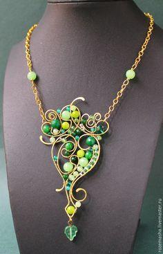 Купить Кулон Призрак Нежный (зеленый вариант) - комплект, подарок, изящное, витое, лёгкое, нежность