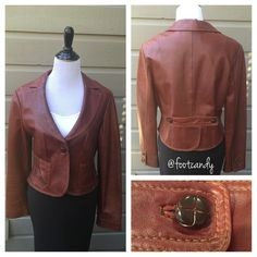 "Bebe 100% Leather Blazer (Burnt Red) Brand: Bebe Material: 100% Leather Size: L Color: Burnt Red Bust: 38"" Underarm to bottom hem: 10"" Sleeve (uncuffed): 25"" Back Length (shoulder to hem): 20"" Two small tears in inner lining on seam (as photographed). Can easily be repaired and undetected.   CLOSET RULES: No PayPal. No Holds. No Trades. Reasonable offers through offer button.  BUYER PROTECTION: After purchase, all items are subject to additional photos and videotapes with date stamping and…"