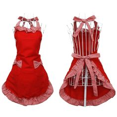 Hyzrz Cute Red Cotton Flirty Womens Aprons Fashion for Girls Vintage Cooking Retro Apron with Pockets Special for Gift Guide! - Victorinox Fibrox 8 by Cute Fashion, Retro Fashion, Girl Fashion, Vintage Fashion, Fashion Women, Vintage Style, Latest Fashion, Waitress Apron, Christmas Decoration Crafts