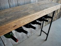 """3 ft Reclaimed Wood Wine Bar and Rack/Console Table with Pipe Legs and Thick 2.5"""" Top (36""""L x 11.5""""w x from Urban Wood Goods."""