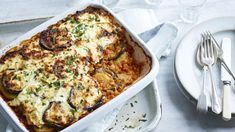Red lentil and aubergine moussaka recipe - BBC Food Greek Recipes, Veggie Recipes, Dinner Recipes, Cooking Recipes, Veggie Moussaka, Moussaka Recipe Vegetarian, Vegetarian Recipes Bbc, Eggplant Moussaka, Bechamel
