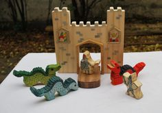 WALDORF WOODEN CASTLE Set with two Knights and by JuguetesEloisa, $75.00