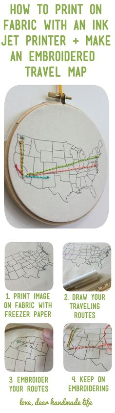 how-to-print-on-fabric-ink-printer-embroider-travel-map-united-states-dear-handmade-life Travel Maps, Diy Wall Art, Families, Ideas, Home Decor, Homemade Home Decor, My Family, Interior Design, Decoration Home