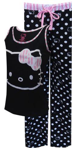 WebUndies.com Hello Kitty Black, White and Pink All Over Pajama