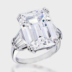 15.0 Ct. Emerald Cut Baguette CZ Solitaire Engagement Ring