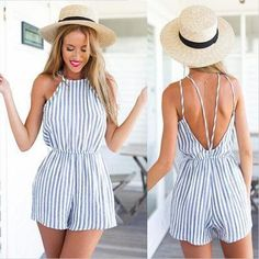 Striped Rompers Womens Jumpsuit Backless Bodysuit Summer Overalls Playsuit Spaghetti Strap Combishort Femme Ete 2019 Verano Price: 8 Get up to off selected products. Cool Outfits, Summer Outfits, Fashion Outfits, 50 Fashion, Dress Fashion, Beach Outfits, Summer Dresses, Outfit Beach, Beach Attire