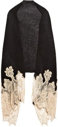 Valentino lace-trimmed cashmere-blend shawl