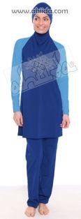 Islamic swimwear @ Ahiida Slim-Fit Deep Sea/Blue Pool-Swirl Curl Dots (Silver)