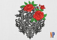Roses with lace machine embroidery design