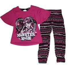 Monster High Bow Back Top Pants Set (XL (14/16)). Monster High Bow Back Top Pants Set. Fabric: Top: 97% Polyester, 3% Spandex; Bottom: 100% Rayon. Draculaura.
