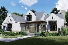 Metal roof, stone accents, horizontal siding, and metal columns equally contribute to the stunning, modern exterior of this farmhouse plan. Modern Farmhouse Design, Modern Farmhouse Exterior, Farmhouse Homes, Farmhouse Style, Contemporary House Plans, Contemporary Kitchens, Contemporary Bedroom, Metal Roof, House Styles