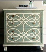 Stenciled dresser....love everything about this