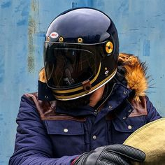 Check out several of my preferred builds - handpicked scrambler builds like this Retro Motorcycle Helmets, Retro Helmet, Motorcycle Gear, Riding Gear, Riding Helmets, Vespa, Mountain Bike Prices, Cafe Racer Helmet, Cafe Racer Style