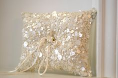 Pearl Ring Bearer Pillow Ring Pillow with Pearl by CouturesbyLaura