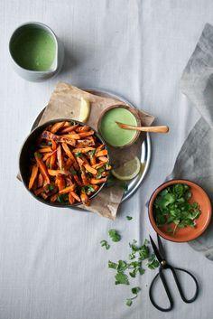 sweet potato fries + herbed tahini sauce