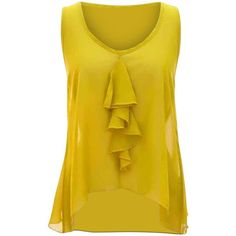 Citrine Yellow Sleeveless Sheer Ruffled Top Open Back ($22) ❤ liked on Polyvore featuring tops, yellow, sleeveless ruffle top, open back top, flounce tops, sheer top and sleeveless tops
