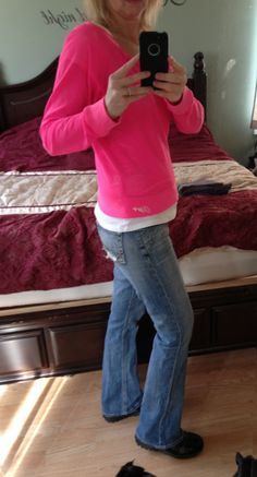 Budget wardrobe!  You can still dress great on a dime.  Pink Aero sweatshirt (clearanced for a couple bucks), white tee underneath, BKE jeans $15, Skechers (SO comfy) sale splurge $35.
