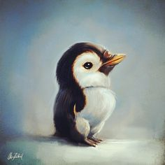 Little penguin by ArtofOkan on DeviantArt Cool Art Drawings, Cool Artwork, Amazing Artwork, Drawing Ideas, Penguin Illustration, Penguin Art, Creature Concept, Colorful Pictures, Beautiful Paintings