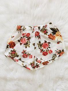 Ivory Vintage Floral Print Shorts