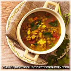 Slow-Cooker Moroccan Lentil Soup – Phase 3. Perfect for the fast metabolism diet phase 3. Ingredients: 2 cups chopped onions, 2 cups chopped carrots...