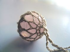 Rose Quartz Necklace ~ Pendant ~ Sphere by TheTreeFolkHollow on Etsy