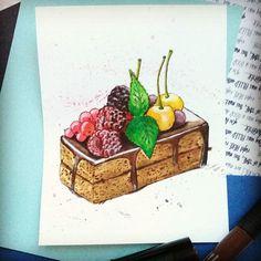 #скетч #акварель #пирожное #ягоды #шоколад #вкусняшки #scetch #foodsketch #cake #berries #watercolor