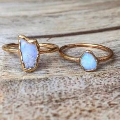 Our Dainty Raw Opal and Gold Ring || Available in our 'Mermaid' collection || www.indieandharper.com