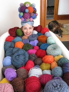 Now that's a lot of yarn! Would your yarn collection be able to fit inside a bath tub?