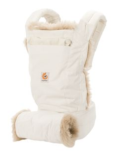 ERGObaby Designer Baby Carrier Winter White lined in a removable sheepskin