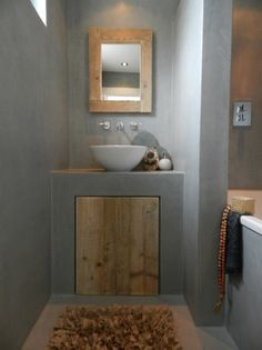 These days concrete as a material is very popular and modern. This material is often used in interior design. This time we present you bathroom designs Rustic Bathrooms, Grey Bathrooms, Beautiful Bathrooms, Modern Bathroom, Small Bathroom, Luxury Bathrooms, Master Bathrooms, Minimalist Bathroom, Concrete Bathroom