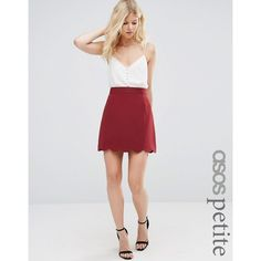 ASOS PETITE A-Line Mini Skirt with Scallop Hem ($30) ❤ liked on Polyvore featuring skirts, mini skirts, petite, red, red skirt, red mini skirt, high waisted mini skirt, red high waisted skirt and short skirts