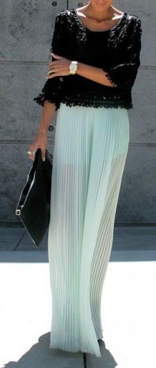 Love the lace-like top and the pastel colored/sheer  mini pleat maxi skirt...