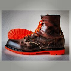 Resoled Red Wing #952 in our Blaze orange commando outsole for Ball and Buck. Resole your shoes now through Greenwichvintage.us/shop