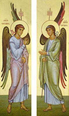 Byzantine Art, Byzantine Icons, Religious Icons, Religious Art, Mary Magdalene And Jesus, Archangel Raphael, Catholic Art, Art Icon, Orthodox Icons