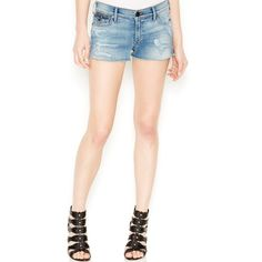 True Religion Joey Mid-Rise Cutoff Denim Shorts Fremont Ave Wash ($228) ❤ liked on Polyvore featuring shorts, fremont ave, short jean shorts, cut off jean shorts, cut-off, denim shorts and cut off shorts