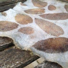 Churra - Eucalyptus on wool/silk nuno felted piece