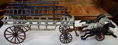Early Antique Cast Iron Fire/Ladder Wagon 3 Horse Team