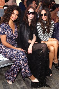 Louise Roe Photos Photos - (L-R) Camila Alves, Coco Rocha and  Louise Roe attend the Rebecca Minkoff fashion show during New York Fashion Week September 2016 at Magnum New York on September 10, 2016 in New York City. - TRESemme at Rebecca Minkoff September 2016 - New York Fashion Week: The Shows