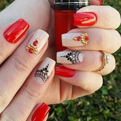 Beautiful Unique and Trendy Nail Designs That You Will Love Fancy Nails, Red Nails, Love Nails, Hair And Nails, Perfect Nails, Gorgeous Nails, Pretty Nails, Trendy Nail Art, Nail Art Diy